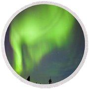 Yukon Taiga Spruce Northern Lights Aurora Borealis Round Beach Towel