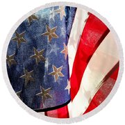 American Flag Round Beach Towel by Les Cunliffe