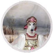 Borzoi - Russian Wolfhound Art Canvas Print Round Beach Towel