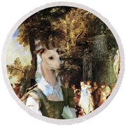 Italian Greyhound Art Canvas Print  Round Beach Towel