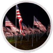 9-11 Flags Round Beach Towel