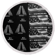 9/11 Memorial For Sale In Black And White Round Beach Towel
