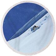 A Athletic Skier Rips Fresh Deep Powder Round Beach Towel