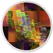 Abstract Checkered Pattern Fractal Flame Round Beach Towel
