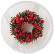Advent Christmas Wreath  Round Beach Towel