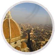 Brunelleschi's Dome At The Florence Cathedral  Round Beach Towel