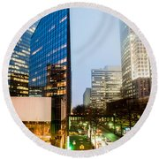 Charlotte City Skyline Night Scene Round Beach Towel