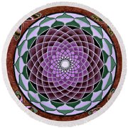 Cosmic Flower Mandala 6 Round Beach Towel