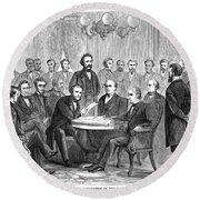 Johnson Impeachment, 1868 Round Beach Towel