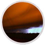 Late Night Nebraska Shelf Cloud Round Beach Towel