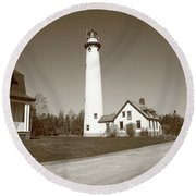 Lighthouse - Presque Isle Michigan Round Beach Towel
