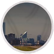 London City Airport Round Beach Towel