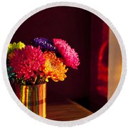 Multicolored Chrysanthemums In Paint Can Round Beach Towel