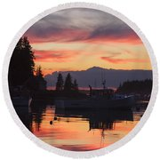 Port Clyde Maine Fishing Boats At Sunset Round Beach Towel