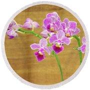 Purple Orchid-12 Round Beach Towel