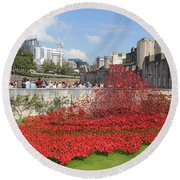 Remembrance Poppies At The Tower Of London Round Beach Towel