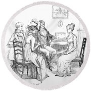 Scene From Pride And Prejudice By Jane Austen Round Beach Towel by Hugh Thomson