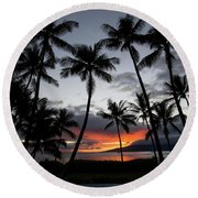 Silhouette Of Palm Trees At Dusk Round Beach Towel