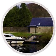 Small White Yacht In The Water Of The Caledonian Canal Round Beach Towel
