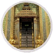 Temple In Grand Palace Bangkok Thailand Round Beach Towel