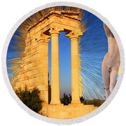 Temple Of Apollo Round Beach Towel
