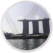 The Artscience Musuem And The Marina Bay Sands Resort In Singapore Round Beach Towel