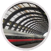 Train Station Round Beach Towel