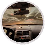 Traveling At Speed Of Light Round Beach Towel