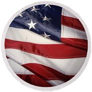 Usa Flag Round Beach Towel