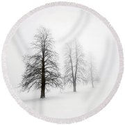 Winter Trees In Fog Round Beach Towel
