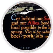 Wwi Food Supply, 1917 Round Beach Towel