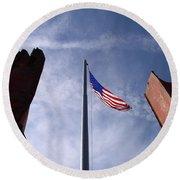 911 Tribute At Winslow Arizona Round Beach Towel