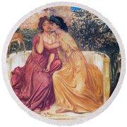 Sappho And Erinna In A Garden Round Beach Towel