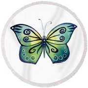 92 Teal Button Cap Butterfly Round Beach Towel by Amy Kirkpatrick