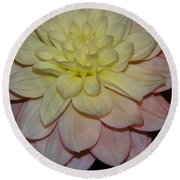 #928 D809 Dahlia Pink White Yellow Dahlia Thoughts Of You Round Beach Towel