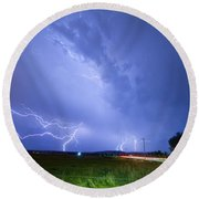 95th And Woodland Lightning Thunderstorm View Round Beach Towel