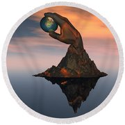 A 3d Conceptual Image Of The World Round Beach Towel