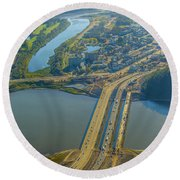 Fort Mcmurray From The Sky Round Beach Towel