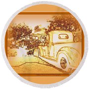 A And W Drive In Round Beach Towel by Bobbee Rickard