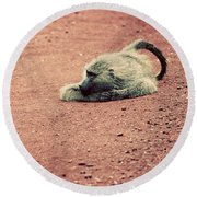 A Baboon On African Road Round Beach Towel