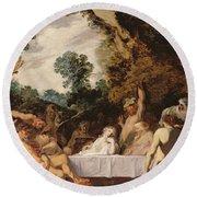 A Bacchanalian Feast, C.1617 Round Beach Towel