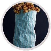 A Bag Of Popcorn Round Beach Towel