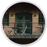 A Balcony On The River Aire Round Beach Towel