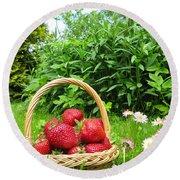 A Basket Of Strawberries Round Beach Towel
