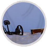 A Bath After Harvest Round Beach Towel by Jeff Swan