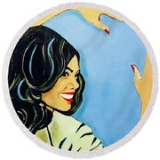 A Beautiful Girl 2 Round Beach Towel