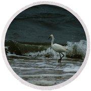 A Beautiful Snowy White Egret On Hilton Head Island Beach Round Beach Towel