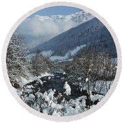 A Beautiful Winterday - Austrian Alps Round Beach Towel