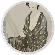 A Beauty In A Black Kimono Round Beach Towel by Hashiguchi