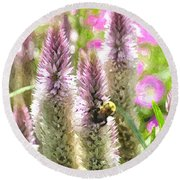 A Bee's Work Is Never Done Abwndwc Round Beach Towel